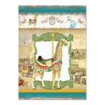 Vintages Zirkus-Plakat, Giraffen-Geburtstags-Party Individuelle Ankündigskarten