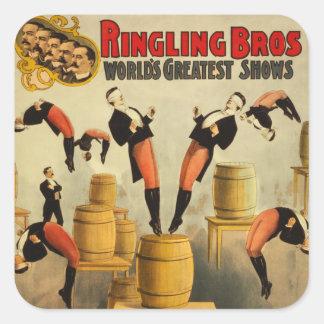 Vintages Zirkussideshow-Plakat Quadratischer Aufkleber