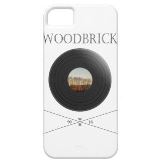 Vinyl/disc print with tree label&WoodBrick writing Barely There iPhone 5 Hülle