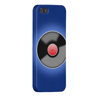 Vinylaufzeichnung auf blauem Telefon-Kasten iPhone 5 Etui