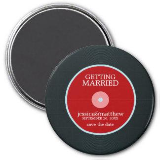 Vinylaufzeichnung, die Save the Date Wedding ist Runder Magnet 7,6 Cm