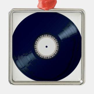 Vinyllanger Spieler mit Tastatur-Ikone Quadratisches Silberfarbenes Ornament