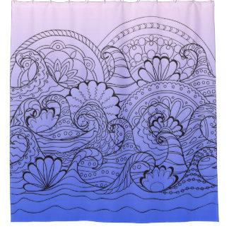 violet Zen waves Duschvorhang
