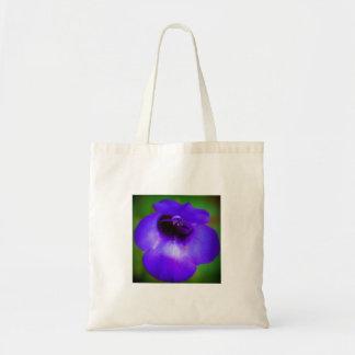 Violette blaue Blume Tragetasche