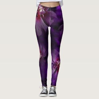 Violette Blumengamaschen Leggings