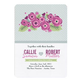 Violette Blumenhochzeits-Einladung 12,7 X 17,8 Cm Einladungskarte
