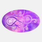 Violette Flamme/violettes Feuer Ovaler Aufkleber