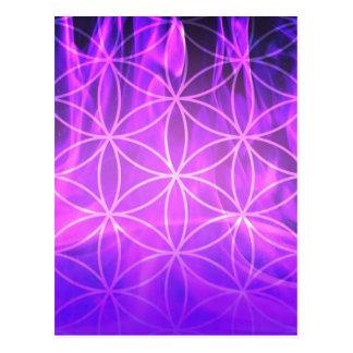 Violette Flammen-Blume des Lebens Postkarte
