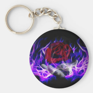 Violette Flammen-Rose und Gotthand Schlüsselanhänger
