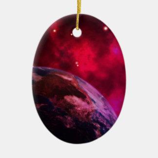 Violette Galaxie 2 - purple galaxy Ovales Keramik Ornament