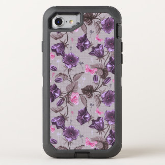 violette Handglocken und rosa Schmetterlingsmuster OtterBox Defender iPhone 8/7 Hülle