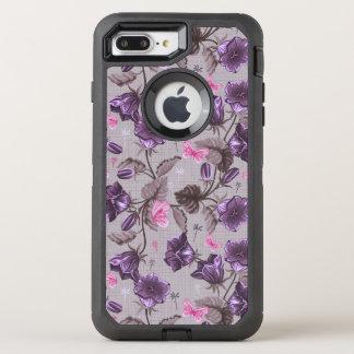 violette Handglocken und rosa Schmetterlingsmuster OtterBox Defender iPhone 8 Plus/7 Plus Hülle