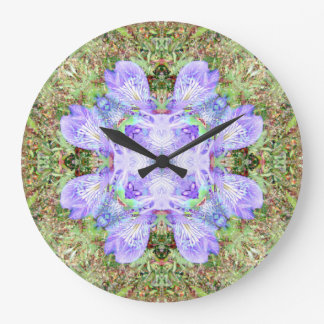 Violette Iris-Mandala Große Wanduhr