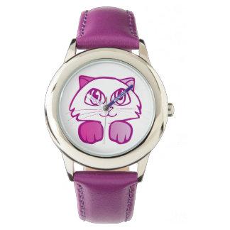 Violette Katze keine Zahlen Armbanduhr