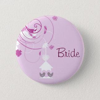 Violette Liebe-Vogel-Braut Runder Button 5,7 Cm