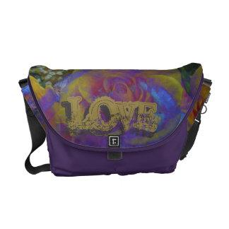violette lila beige graue Rosen-Liebe-Bote-Tasche Kurier Taschen