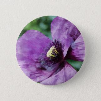 Violette Mohnblume Runder Button 5,1 Cm