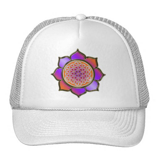Violette Orange Blume DES Lebens Lotus Retrokultmützen