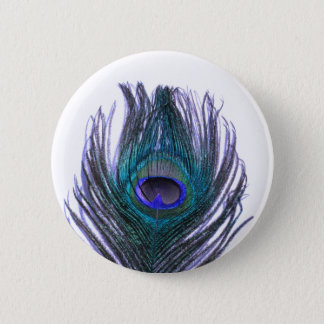 Violette Pfau-Feder Runder Button 5,1 Cm