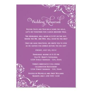 Violette Rolle der Hochzeits-Proben-| 12,7 X 17,8 Cm Einladungskarte