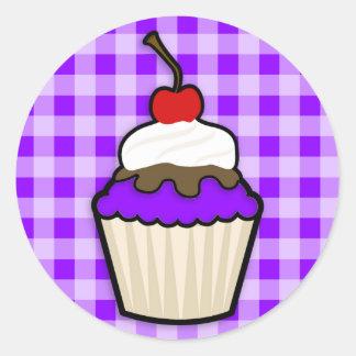 Violetter lila kleiner Kuchen Runder Aufkleber