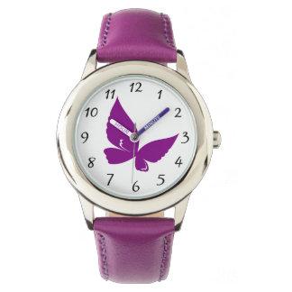 Violetter Schmetterling Armbanduhr