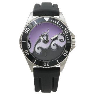 Violetter, weißer und schwarzer Fractal. Uhr