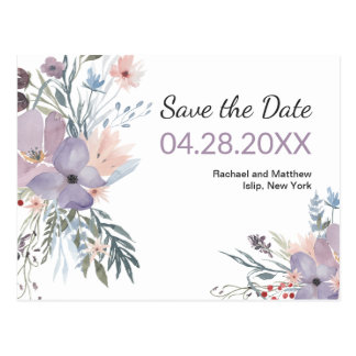 Violetter WieseWatercolor mit Blumen Save the Date Postkarte