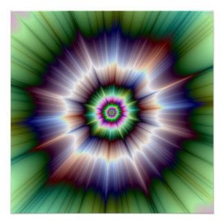 Violettes grüner und blauer Supernova-perfektes Poster