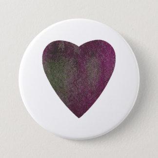 Violettes grünes Aquarell-Herz Runder Button 7,6 Cm