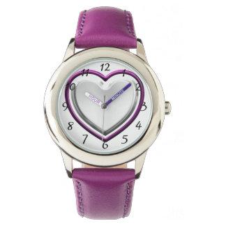 Violettes Herz Armbanduhr