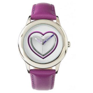 Violettes Herz keine Zahlen Uhr