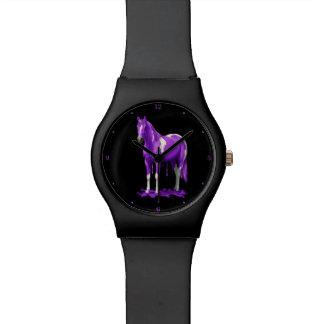 Violettes lila Bratenfett-nasses Farben-Pferd Armbanduhr