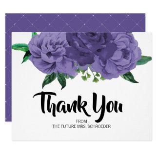 Violettes lila mit BlumenBrautparty danken Ihnen Karte