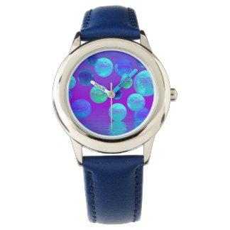 Violettes Nebel-, Cyan-blaues und Lilaabstraktes Uhr