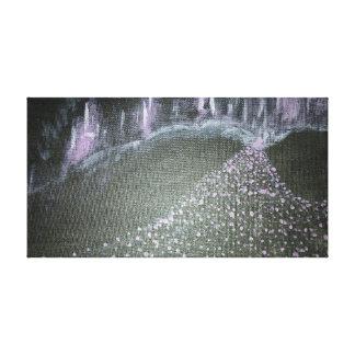Violettes NeonStadtbild Leinwanddruck