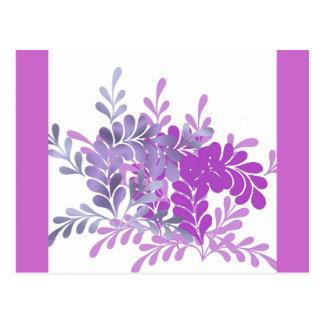 Violettes Ornamental-Blätter Postkarten