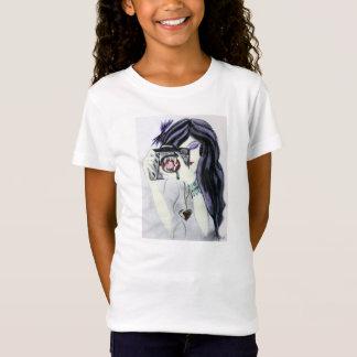 Violettes Vampire-Mädchen mit Kamera-T - Shirt