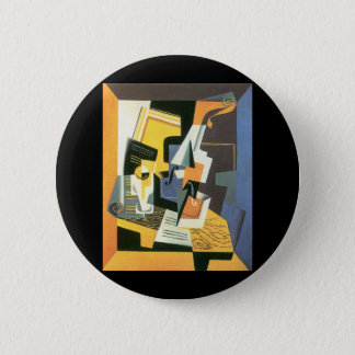 Violine und Glas durch Juan Gris, Vintager Runder Button 5,7 Cm