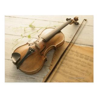 Violine und Noten Postkarte