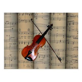 Violinen-~ gerolltes Notenen-Hintergrund ~ Musical Postkarte