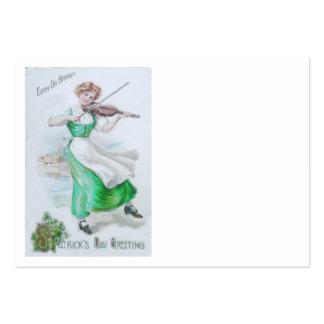 Violinen-Kleeblattviolinist-viktorianische Frau Visitenkarten Vorlage