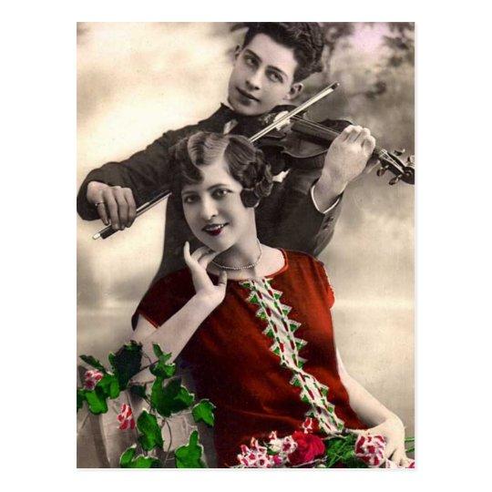 Violinen-Musik gespielt vom Vintagen Musiker Postkarte