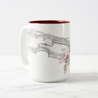 Violinen-und Lilly Kaffee-Tasse Zweifarbige Tasse