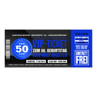 VIP-TICKET Einladungskarten (blau)