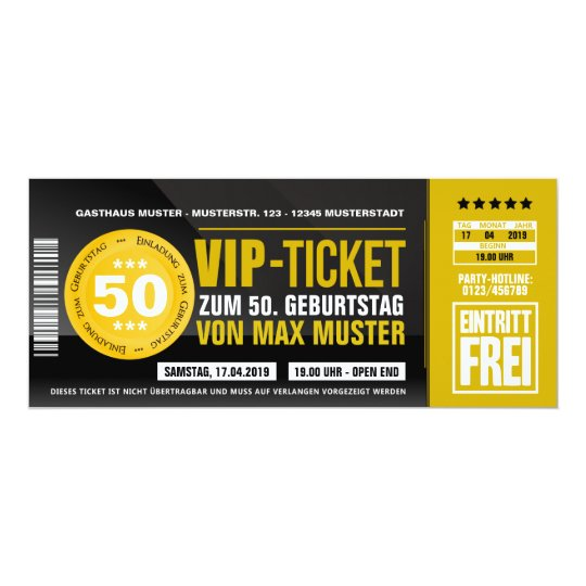 Vip Ticket Einladungskarten (ocker Orange) | Zazzle, Einladung