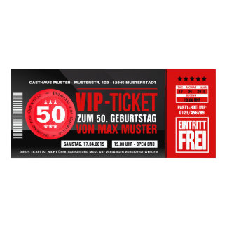 VIP-TICKET Einladungskarten (rot)