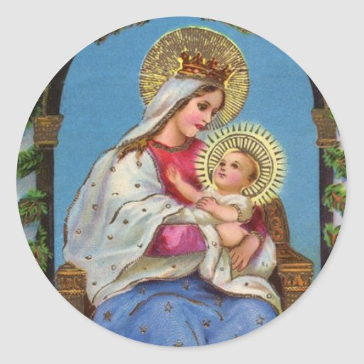 Virgin Mary and Baby Jesus Religious Stickers