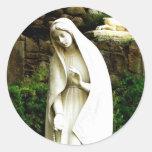 Virgin Mary Garden Statue Round Sticker
