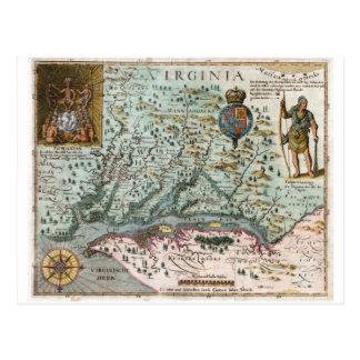 Virginia-Karte 1627 Postkarte